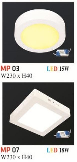 Đèn Mâm Nổi Phẳng Hufa MP03 18W Ø230 x H30
